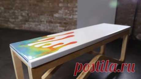 Веселая скамья из бетона, фанеры и эпоксидки