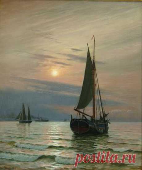 """Блахе  (1838-1920) - """"Лодки в море ранним утром"""" 1906 г. - Купить антиквариат, продажа старинного антиквариата – антикварная галерея «Кентавр»"""