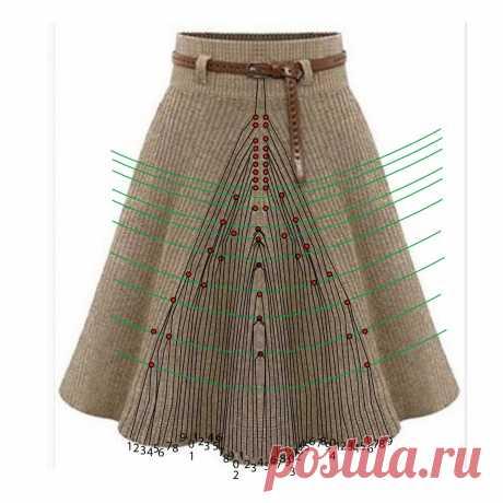 Моделирование вязаной юбки четырехклинки