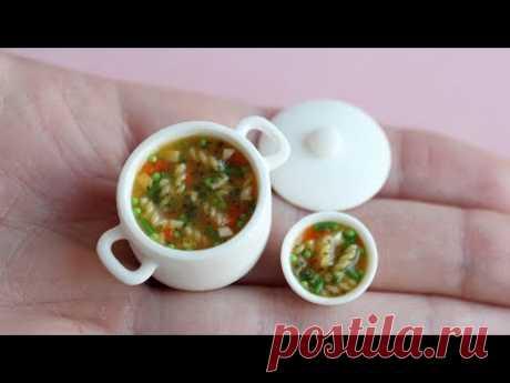 Кастрюля с супом для куклы. Miniature soup saucepan for dolls. Polymer clay.Tutorial. DIY.