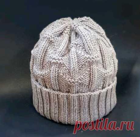 Мужская шапка спицами Геометрия, Вязание для мужчин