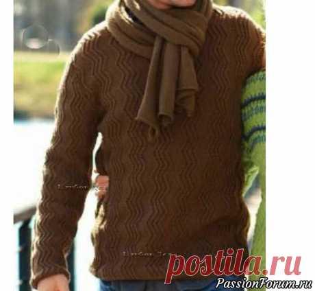 """Мужской пуловер узором """"зиг-заг""""   Вязание для мужчин спицами. Схемы вязания"""