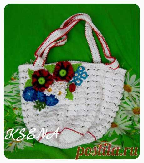Bag crochet Knitted beach bag Women's large knitted bag | Etsy