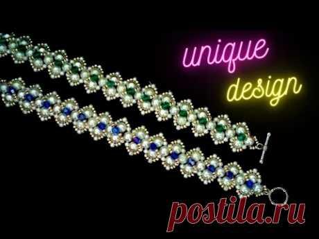 Unique design for elegant beaded bracelets. Beading tutorial