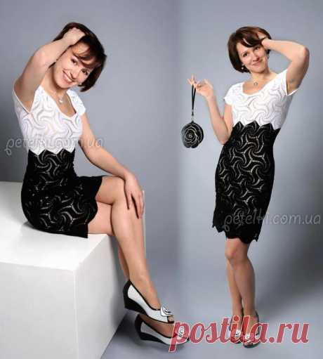 Красивое платье из черных и белых мотивов. Схемы