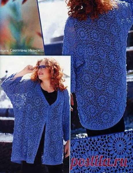 Жакет Мальдивка из ажурных шестиугольных мотивов синего цвета крючком для полных женщин – описание вязания со схемами