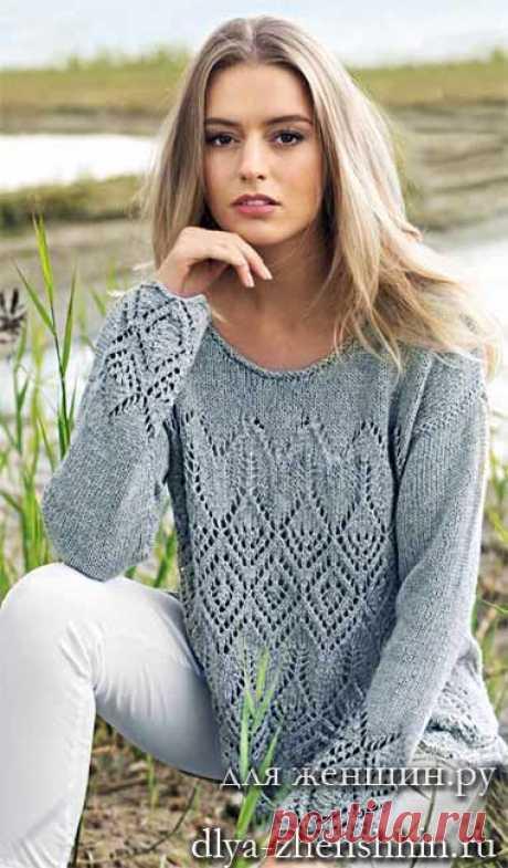 Красивый пуловер спицами - преимущества 2 схемы и описание ажурного узора джемпера ☀