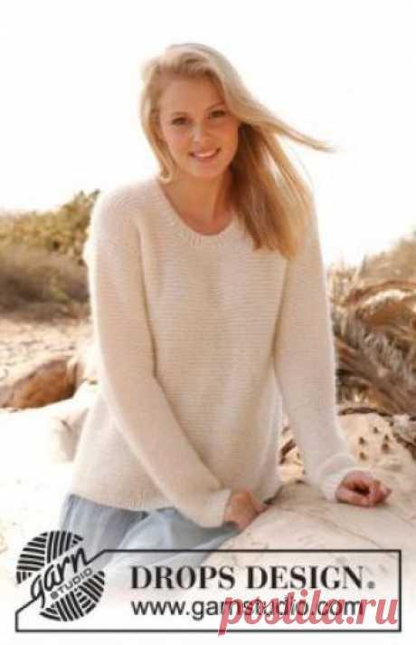 Джемпер белый песок Свободный воздушный джемпер со спущенной проймой спицами для женщин, выполненный из двух видов пряжи на основе альпаки, мохера и шелка...