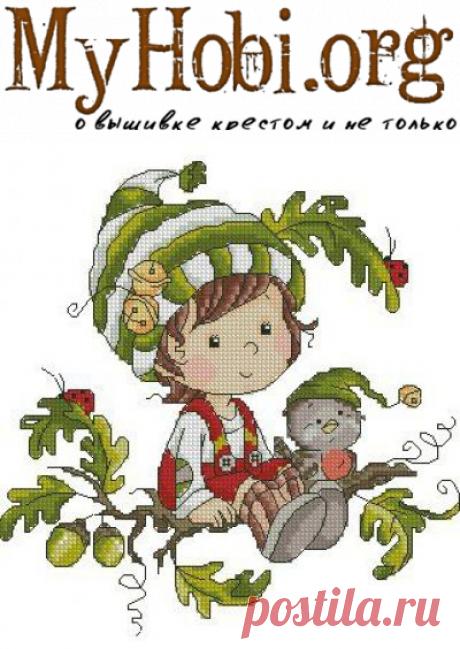 Осенний эльф- схемы вышивки крестом для детской комнаты