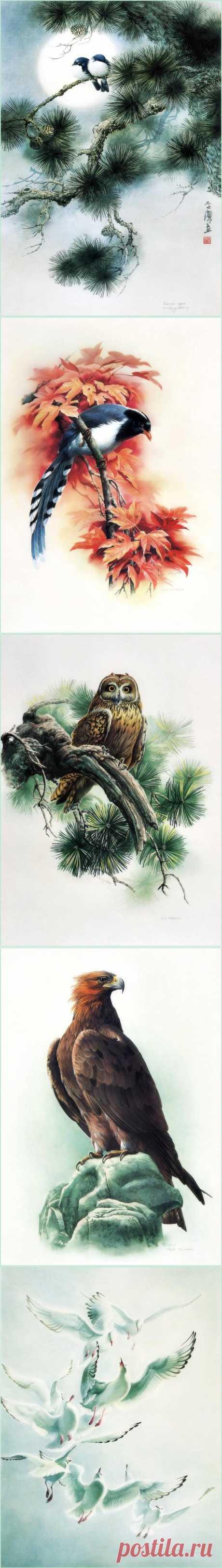 Птицы художника Zeng Xiao Lian.