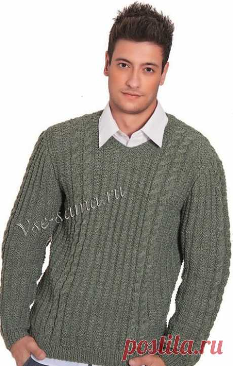 Серо-зелёный пуловер