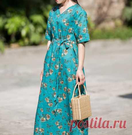 Women long Dress kaftan maxi dress cocktail Dress Flower | Etsy