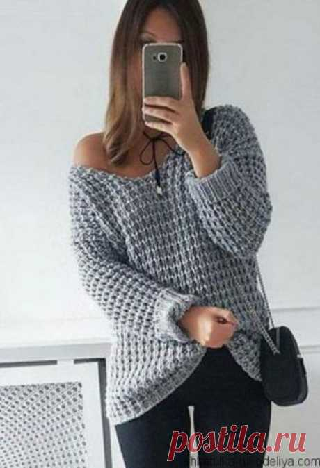 Пуловер спицами крупным узором. Пуловер оверсайз спицами схема | Шкатулка рукоделия
