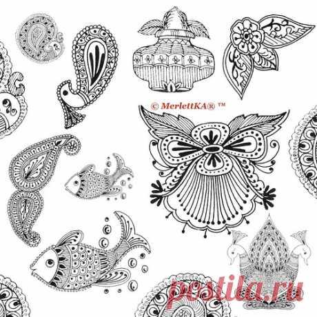 Контурные рисунки - Индийский этнический орнамент и мехенди