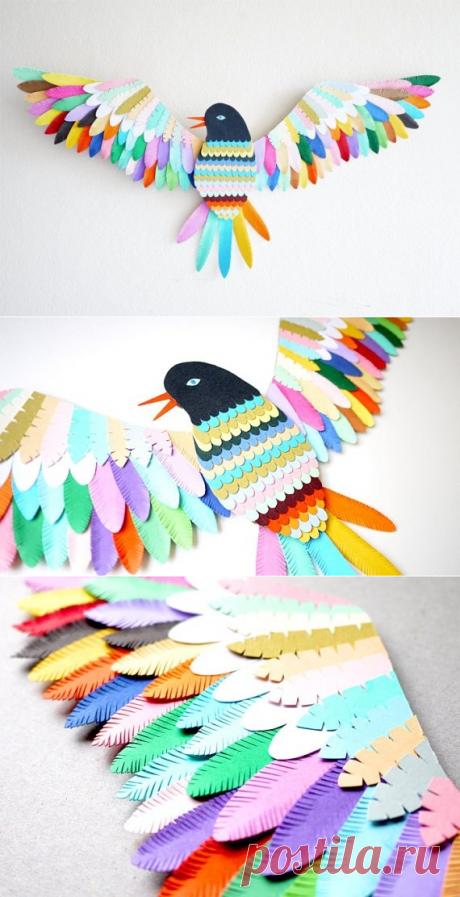 Аппликация: Птичка из бумаги - Поделки с детьми | Деткиподелки