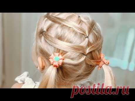Прическа для девочек за 5 минут / Два низких хвоста декорированные прядями / Прическа за пять минут - YouTube