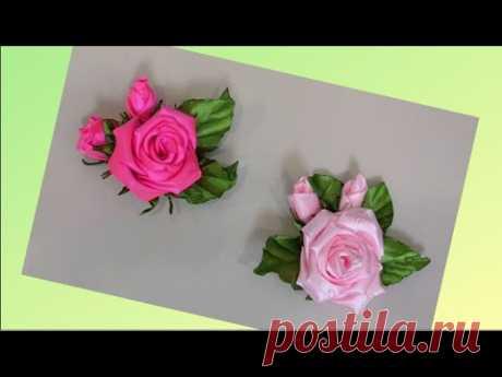 Красивая Роза из Ленты Своими Руками.Бутоньерка на Свадьбу. Брошь. Цветок.// DIY Ribbon Rose.