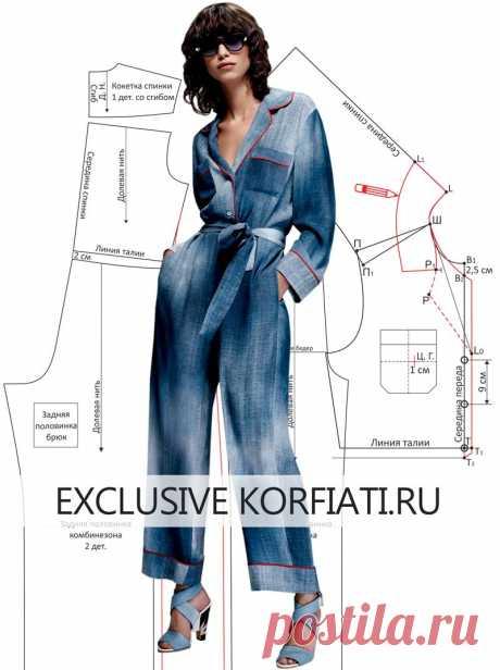 Выкройка комбинезона в пижамном стиле от Анастасии Корфиати Выкройка комбинезона в пижамном стиле. Моделируем комбинезон в пижамном стиле от модного дома Fendi! Если вы любите свободную одежду, то эта модель для вас.