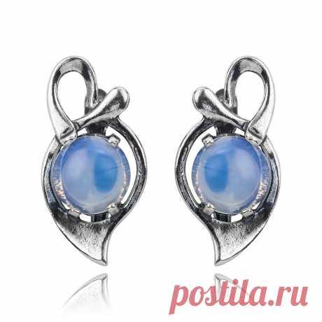 Серьги с лунным камнем (посеребрение), Magia di Natura (Арт.: 75608-1) купить по выгодной цене в Интернет-магазине Море блеска