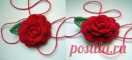 Красивая роза крючком