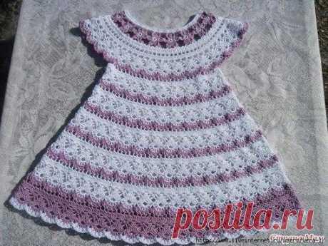 #вязание#спицами#крючком#начинающим#детям#женщинам#мужчинам Детское платье  Платье связано крючком из 100% хлопка Сосо на рост 80-82 см