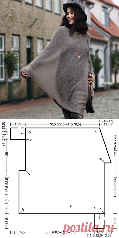 Джемпер-пончо из мохера - схема вязания спицами. Вяжем Пончо на Verena.ru