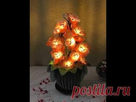 #светильникиизкапрона МК светильник .... без названия))/ DIY nylon flower with led lamps