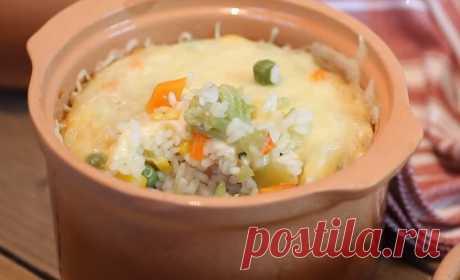 Рис в горшочках с овощами и сыром | Вкусные рецепты