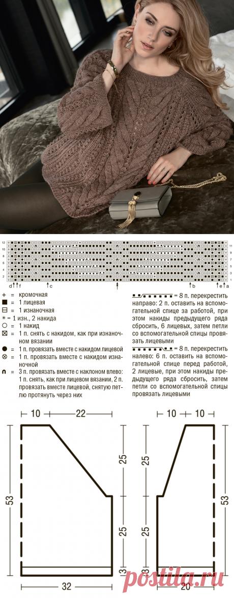 Джемпер с патентными узорами и «косами» - схема вязания спицами. Вяжем Джемперы на Verena.ru