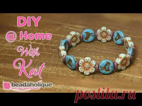 How to Make a Stretch Bracelet Featuring Raven's Journey Czech Glass Beads
