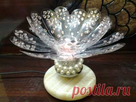 Best Out of waste Plastic bottles transformed to Lovely flower lamp