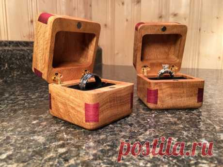 Custom Made Beautiful Wood Wedding Ring Box's Figured White Oak with Purple Heart , Engraved Epoxy Resin Inlay FREE SHIPPING IN THE USA   Measurements 2 1/2 x 2 1/2 x 2 1/2 Hidden brass hinges, Earth magnets for the lids to keep your rings safe for your wedding Beautiful Figured White Oak with Purple Heart Corner Dove Tails the contrast of the two woods make a beautiful looking Box for