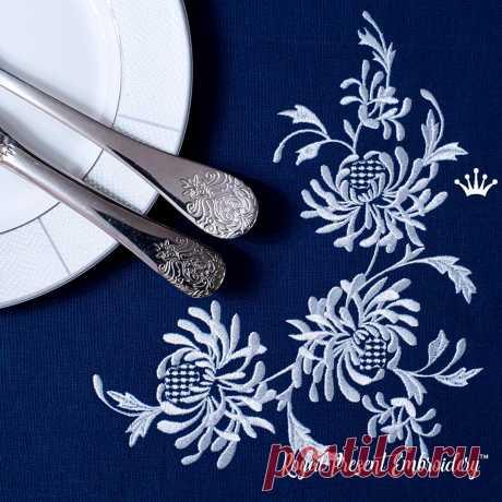 Хризантемы Угловой Дизайн машинной вышивки большой