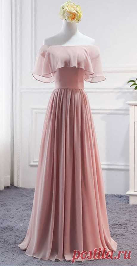1 idea graduación quinto año Pink Long Chiffon Wedding Party Dresses, Cute Formal Dress, Chiffon Long Gowns