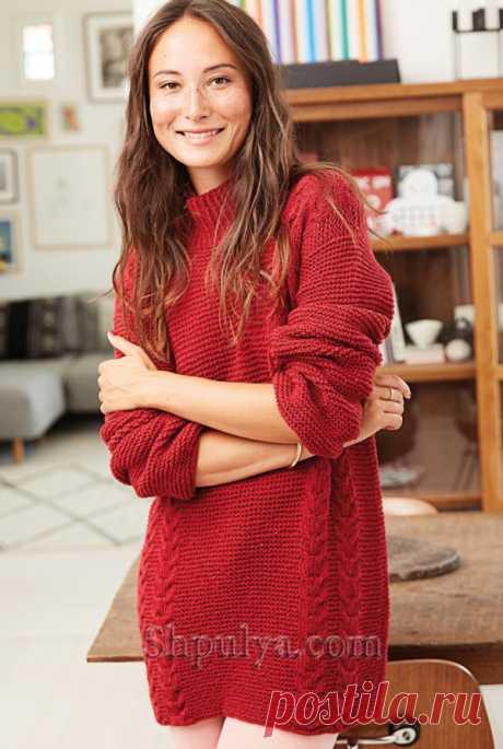 Красный удлиненный пуловер с «Косами» спицами - SHPULYA.com