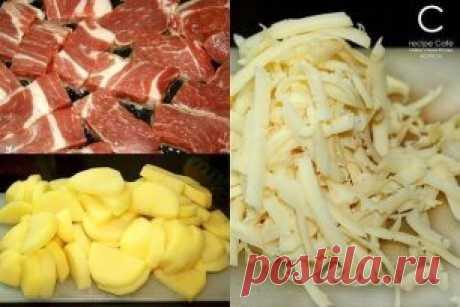 """Картофель """"по-французски"""" на сковороде. Ингредиенты: - свинина - картофель - лук и чеснок - соль - перец - помидор - сыр - зелень Приготовление: 1. Свинину (мясо в общем-то можно взять любое) режем тонкими кусочками и быстро обжариваем с небольшим количеством растительного масла на большом огне. 2. Добавляем резанный дольками картофель. Обжариваем минут 10-15 на большом огне без крышки, периодически перемешивая. 3. Добавляем лук и немного мелкопорезанного или раздавленного чеснока. 4. Солим, п"""