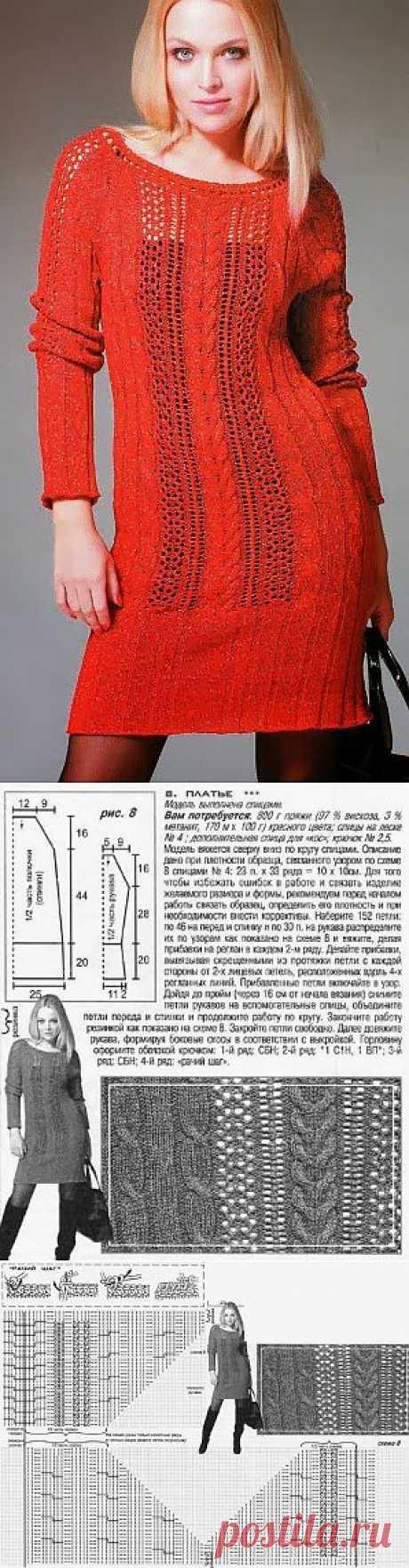 Вязание: Красивое платье спицами