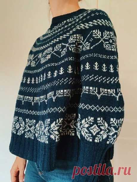 Жаккардовый пуловер оверсайз без швов от Junko Okamoto (Схемы прикрепляю в комментариях, т.к. в посте не помещаются)