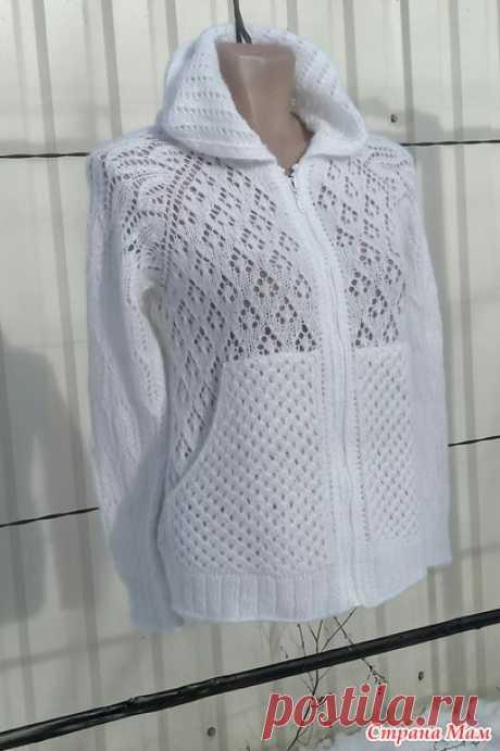 Белый худи с капюшоном спицами - Вязание - пїЅпїЅпїЅпїЅпїЅпїЅ пїЅпїЅпїЅ