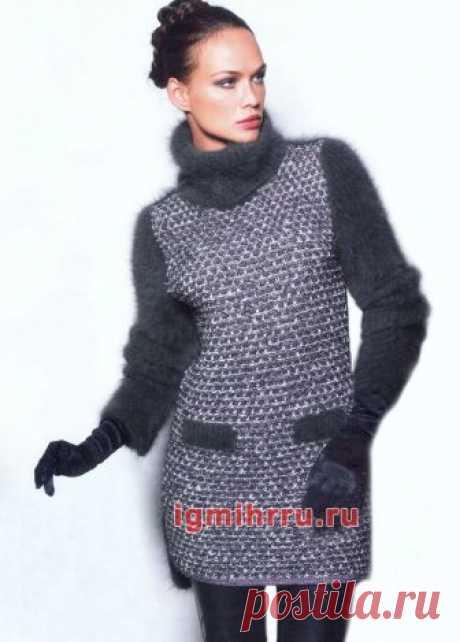 Платье-туника с пушистыми рукавами. Вязание спицами