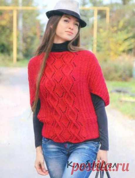 Вязаный пуловер с узором из ромбов. Схемы и описание