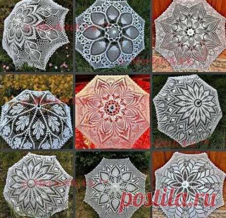 Парасоль - или как связать крючком зонт Зонтиком называют предмет, состоящий из длинной ножки (на которой он стоит) и натянутой на спицы ткани; этот предмет, напоминающий по