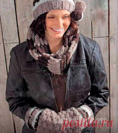Полосатая шапочка с помпоном, шарфик и муфта схема спицами » Люблю Вязать