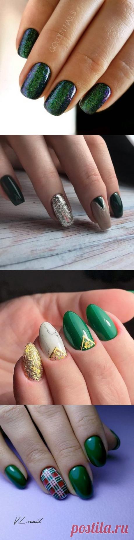 Зеленый маникюр 2021-2022   Модный дизайн ногтей, 110 фото-новинок