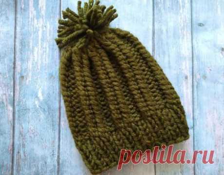 Забавная детская шапочка с помпоном спицами » «Хомяк55» - всё о вязании спицами и крючком