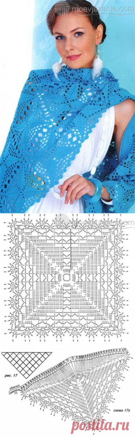 Голубая шаль из вязаных мотивов | MoeVjazanie