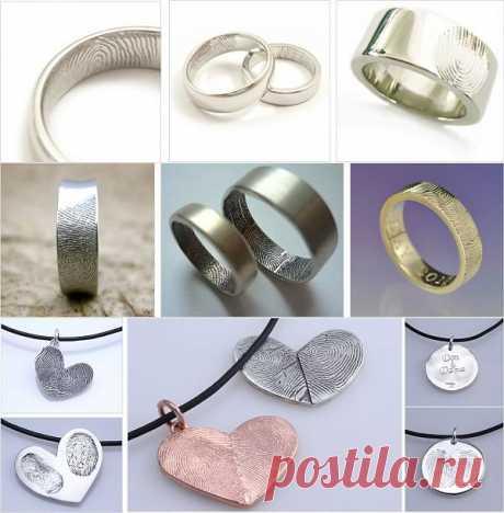 Обручальные кольца с отпечатком пальца!