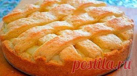 Кулинария >Бесподобный яблочный пирог с заварным кремом — ароматный и нежный!