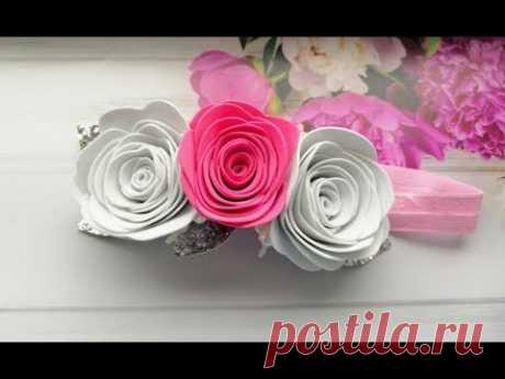 Повязка на голову Розы из фоамирана без шаблона / Rose of tameran without a template