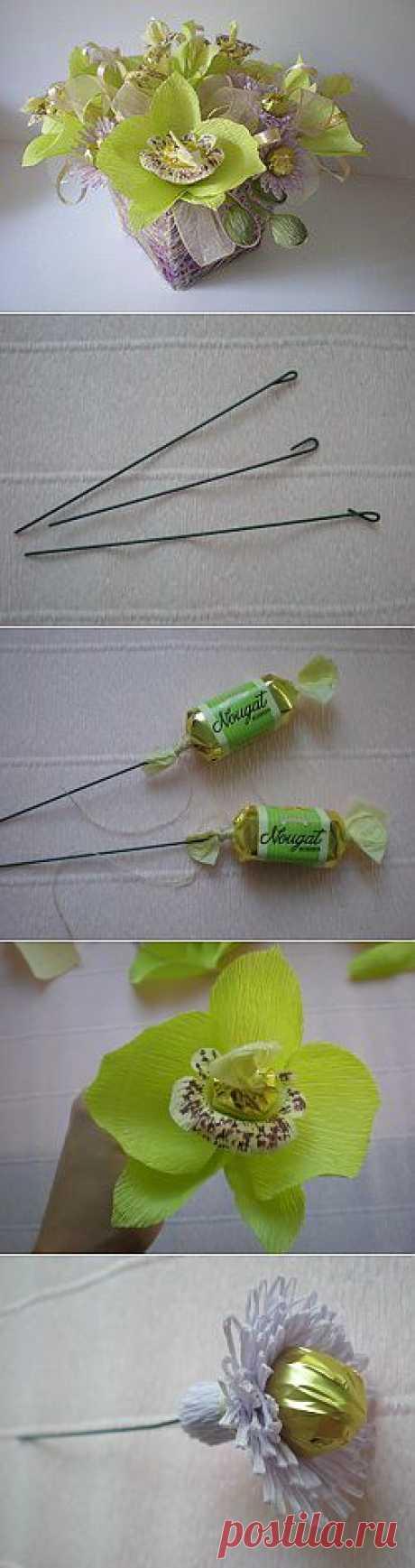 Букет из конфет своими руками «Орхидеи». Мастер-класс о том, как сделать конфетный букет, с пошаговыми фото